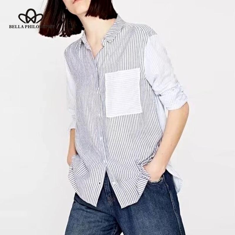 Bella Philosophy 2018 Spring Women Casual Long Sleeve Shirt Striped Female Turn Down Collar Blouse Spliced High Low Women Shirt Women's Clothing