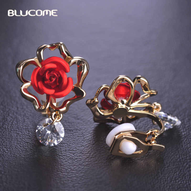 Blucome Red Rose Flower Ear Clip Gold Color Cubic Zircon Women Earrings Pendientes Without Piercing Jewelry For Non Pierced Ears