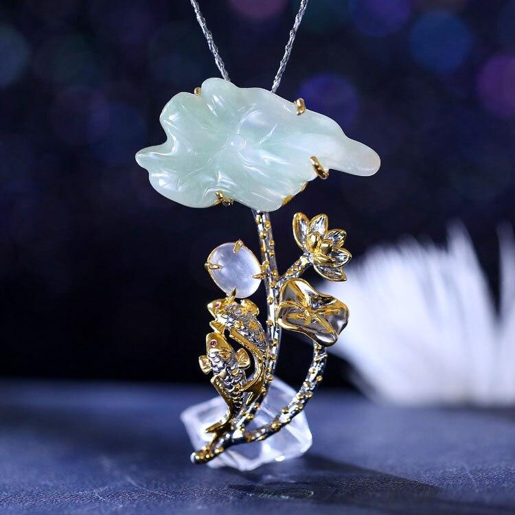 Pendentif et broche Lotus en argent Sterling S925 incrustés de Jade naturel à la main en argent thaïlandais rétro à double usage