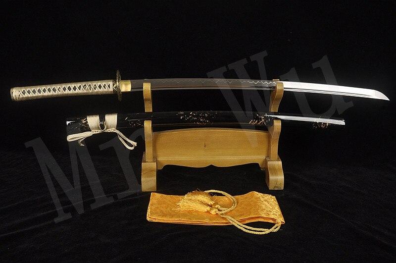 Japonais fait main épée de samouraï katana T10 en acier Au Carbone lame Brûlante Alliage tsuba Requin peau combat Réel Sharp