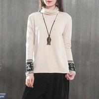 Runback Turtleneck Women Sweater Female Pullovers Vintage Jacquard Knitted Long Sleeve Fall 2019 Winter Jumper Jersey Mujer