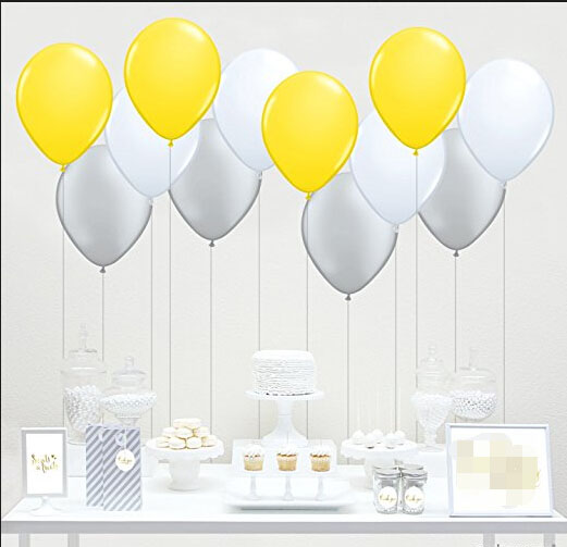 10 Mixed Yellow Gray White Latex Balloon Girl Baby Shower Wedding