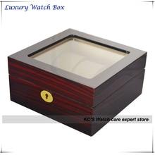 Высочайшее Качество Grossy Отделка Деревянных 6 Сетка Корпус Часов Прозрачной Крышкой для Бренда Часы Дисплей Лучший Подарок Коробка GC02-LG3-06EX
