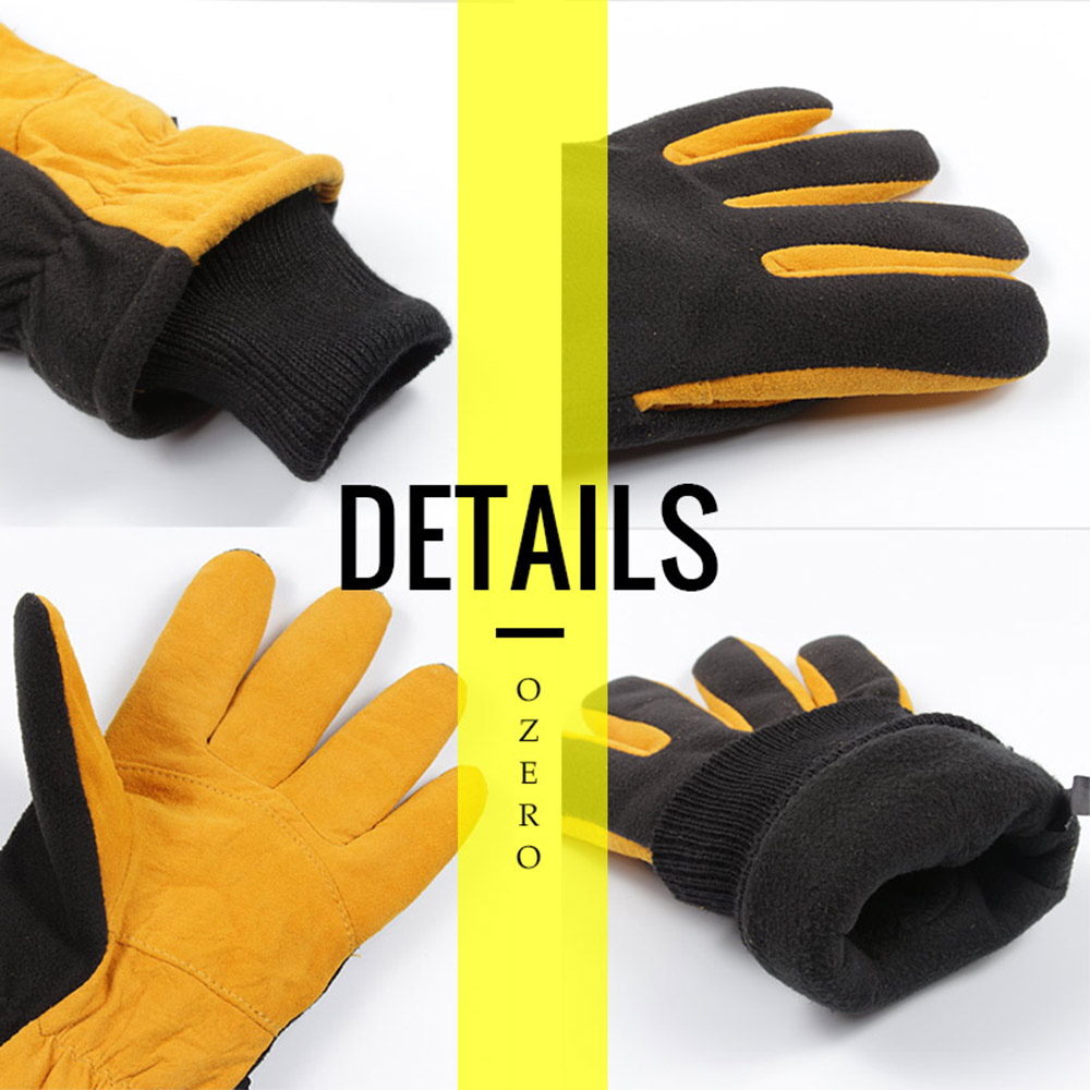 Ozero Ski Gloves Genuine Deerskin Outdoor Sport Warm Skiing and Fleece Winter Waterproof Sports Gloves for Men and Women 9019
