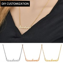 Women Initial Necklace DIY Letter Pendant Stainless Steel Silver Vintage Couple Chain Personalized Jewelry Shellhard