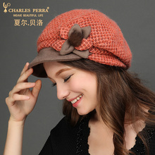 Charles Perra Brand Women Berets Autumn Winter New Warm Fashion Hats Casual Elegant Wool Hat Lady Beret With Flower 7219