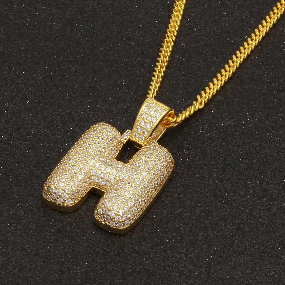 ... Big Size Bling CZ Custom Bubble Letters Pendant Copper A-Z Initial  Pendant Gold b6b273111ac5