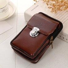 Xiniu, Мужская нагрудная сумка, простая, Ретро стиль, универсальная, повседневная, кожаная, мини, поясная сумка, мужской кошелек, двухслойная сумка на пояс для мобильного телефона, мужская сумка