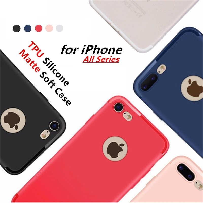 HCCZ per Apple iPhone 6 6 s Plus Opaca Cassa Molle Del Silicone iPhone 7 più iPhone X 5 5 s SE Colorful Copertura Della Cassa Del Telefono Con La Spina Della Polvere