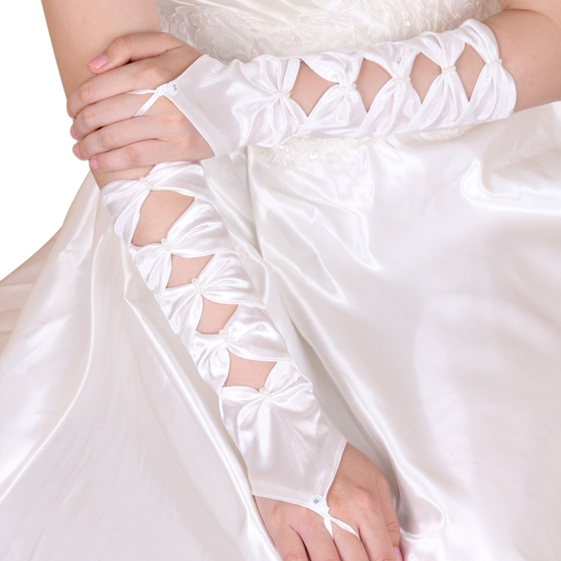 Hollow Fingerless Women Bridal Gloves Elbow Length Beaded Bow Wedding Prom Party