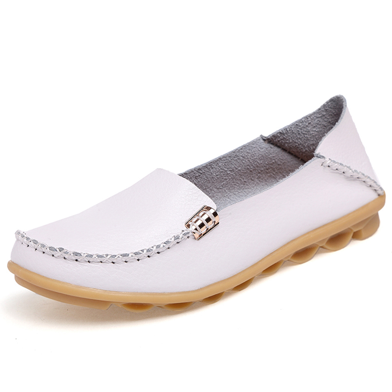 Flats Women Classic Genuine   Leather   Ballet Flats Female Loafers Shoes Women Slipony Flat Heel Shoes Ladies Casual Shoes