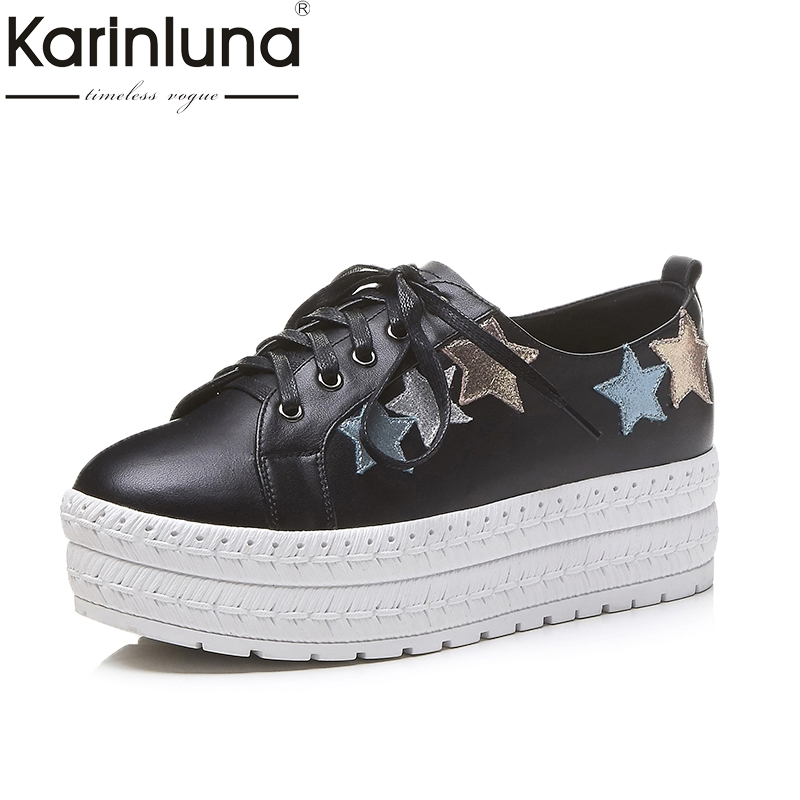 KARINLUNA Genuine Leather 2018 Fashion Size 34-39 Cow Leather Round Toe Shoes Woman Shoes Lace Up Women Platform Flats 2016 lace up women flats solid color spring flats pointed toe flats sole platform shoes woman size 34 39 casual women shoes