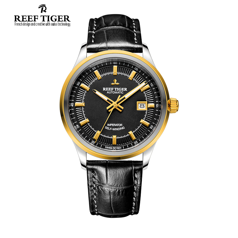 Reef Tiger/RT Dress Business Watch For Men Miyota 9015 Super Luminous Watches with Date Steel Yellow Gold Watch RGA8015 best selling reef tiger rt classic business watches for men rose gold steel automatic watch with date rga823