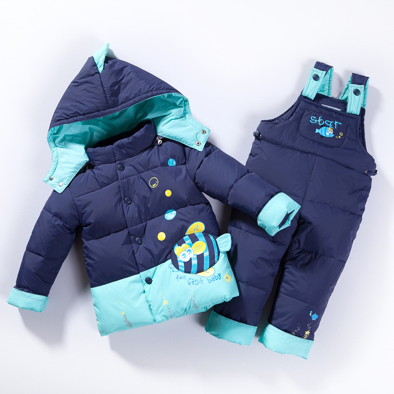 children boy clothes girl winter coat kid Warm jacket suit set Duck Down Hooded Outerwear Parkas With Pants Suit Baby Clothing krazing pot cow suede fashion winter big size round toe art square high heels embroidery women flowers ankle chelsea boots l15