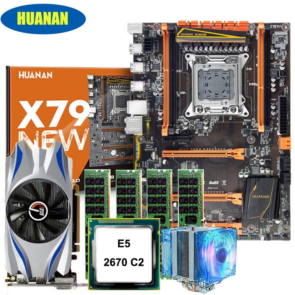 Новое поступление! HUANAN deluxe X79 набор материнская плата Xeon E5 2670 C2 с Процессор вентилятор Оперативная память 16 г (4*4 г) DDR3 RECC видео карты GTX650Ti 2GDDR5