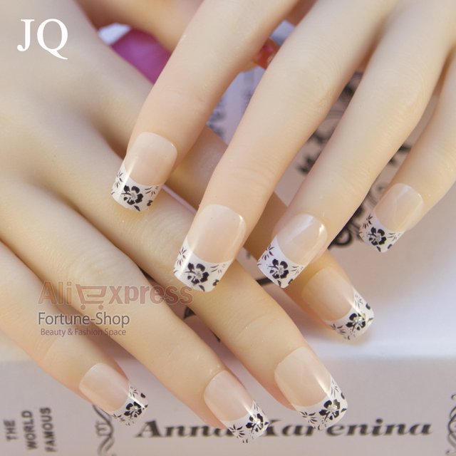 Jq 24pc Set Nail Tips Pre Designed False French Acrylic Nails Come