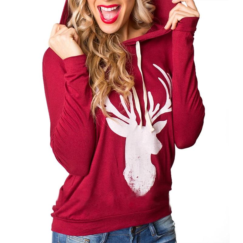 autumn 2017 christmas reindeer t shirt women long sleeve tee shirt femme hooded sweatshirt red. Black Bedroom Furniture Sets. Home Design Ideas