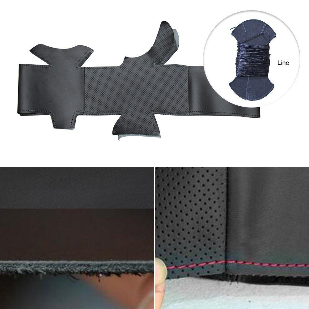 Heated Hand-Sewing Microfiber leather car wheel steering cover for Peugeot 308s car styling braid on the steering wheel case
