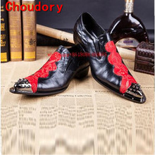 Black and red steel toe spiked loafers men genuine leather party dresses mariage Carved brogue formal shoes men plus size