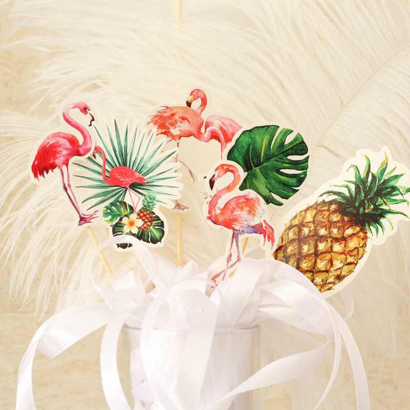 6 pcs/lot cartoon flamingo leaf paper cake topper birthday cake decoration baby shower kids birthday party favor supplies