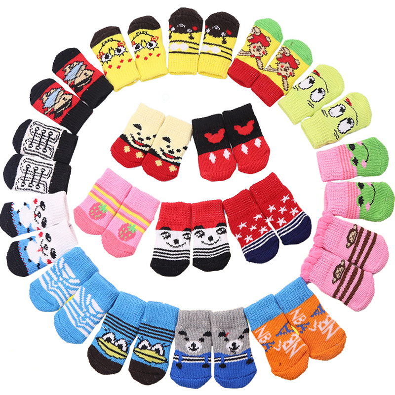 4pcs/set Lovely Cartoon Pets Dog Socks Non-slip Warm Puppy Cat Dog Socks Strawberry/Frog/Bear Pattern Skid Bottom Stocking S/M/L