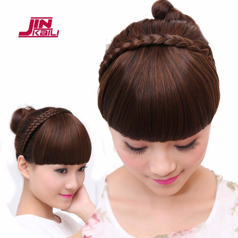 Jinkaili Wig Bangs Synthetic Hairpieces With Braiding Hair Hoop