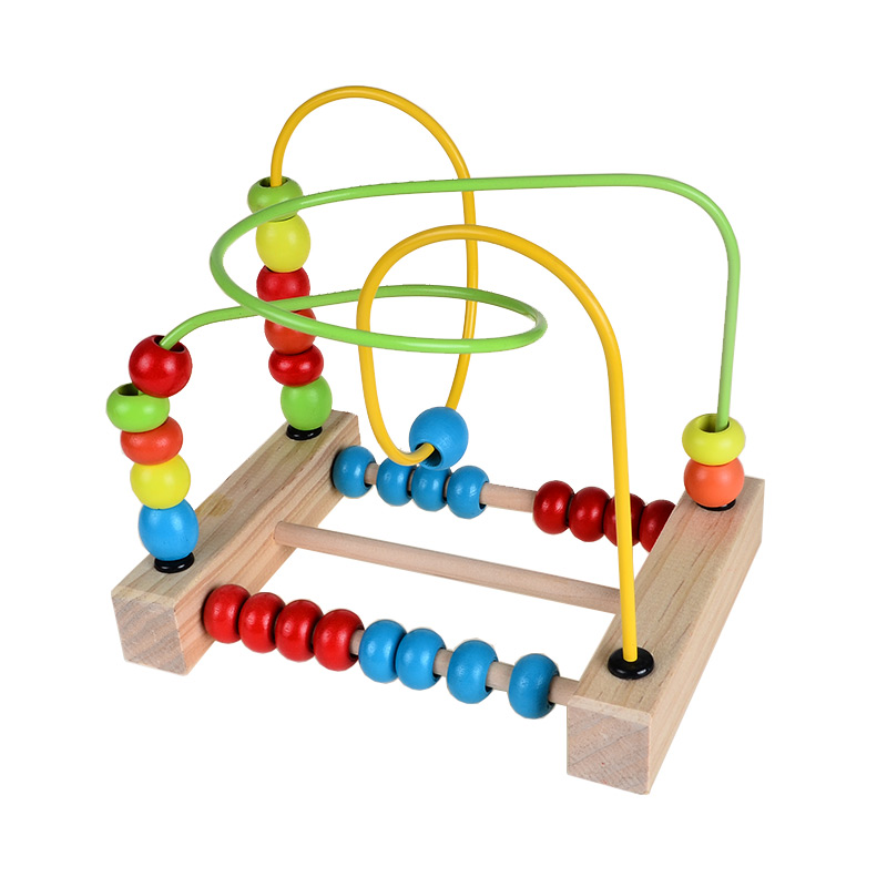 Wooden Toys Baby Abacus Beads Maze Mini Rollercoaster