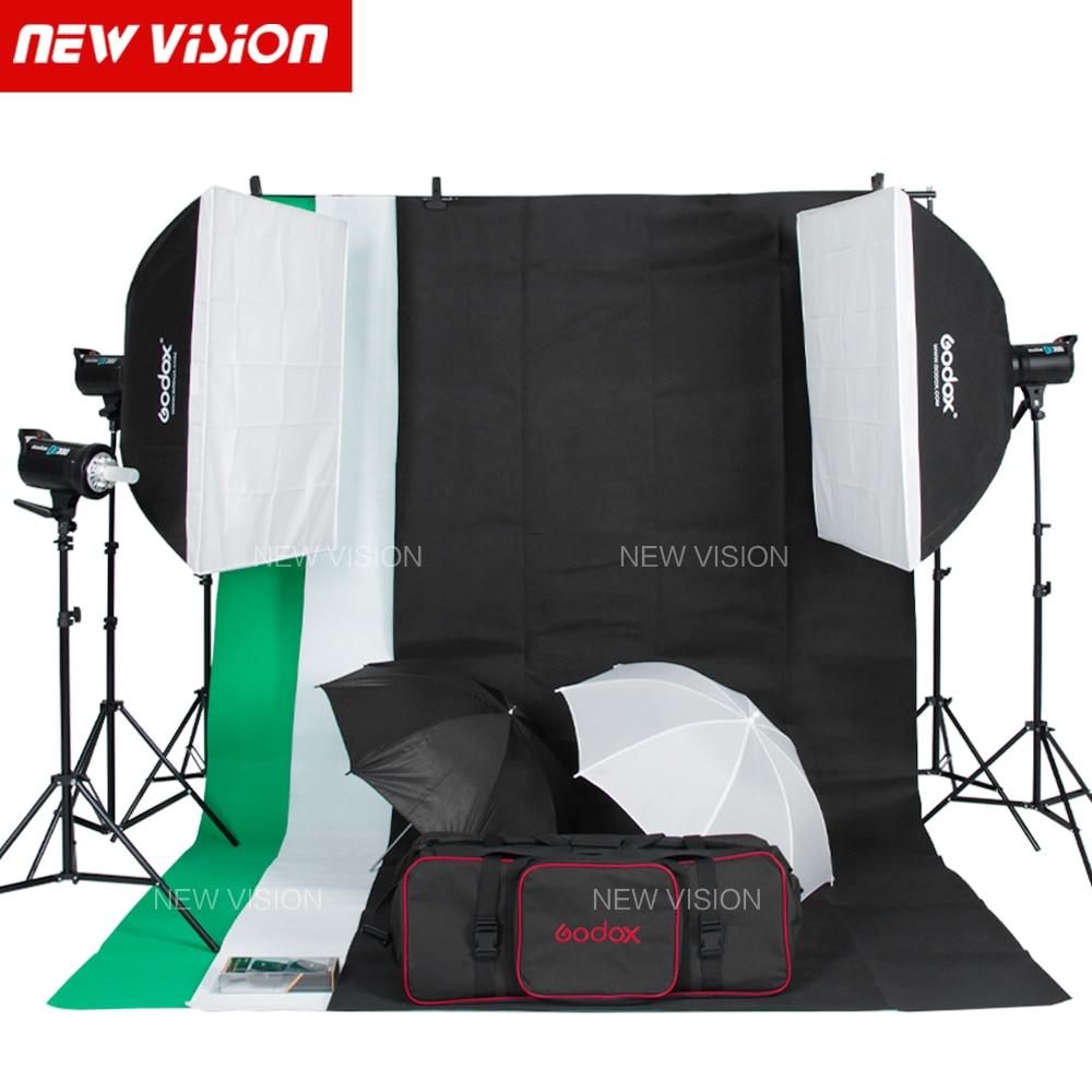 free dhl godox 900w studio flash lighting kit 3 x 300w photography strobe light softbox light stand portrait kit