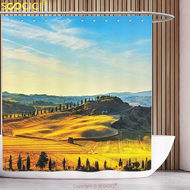 Unique Shower Curtain Tuscan Decor Scenery of Italian Rural with ...