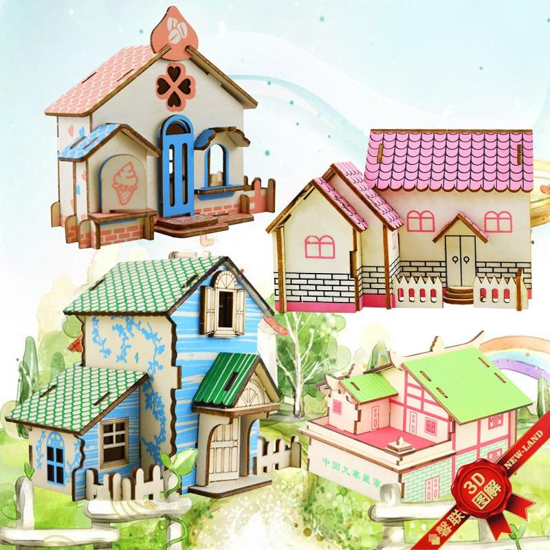 3D Villa De Madeira Modelo de Construção Kits Cabeças Brinquedos Presente para As Crianças Adulto Casa Montar Brinquedos Educativos DIY Arte Decoração