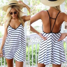 1pcs Fashion Female Summer Cool Black And White Stripes Loose V-neck Halter Dress Drop ship black fashion v neck drop shoulder jumper