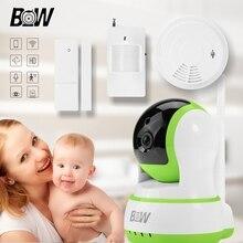 Seguridad wifi cámara ip del monitor del bebé + sensor de puerta/infrarrojos motion sensor/detector de humo inalámbrico de alarma de la cámara del sensor bw13gr