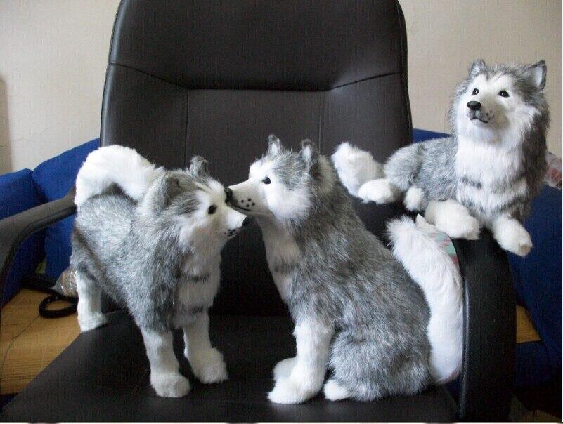 3 pièces simulation husky jouets assis, couché, debout chien poupée cadeau poupée environ 30 cm