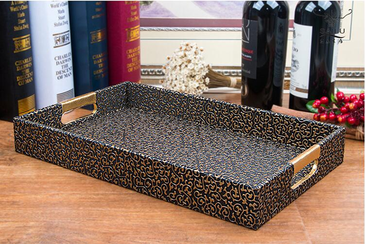 fashion rectangle black gold wooden structrue  leather serving tray  wooden tray leather tray for food storage PFT001|tray assembly|tray teeth|tray dryer - title=