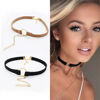 New simple copper small circle velvet chokers necklace bohemia collar rope chain necklaces pendants gargantilha choker.jpg 200x200