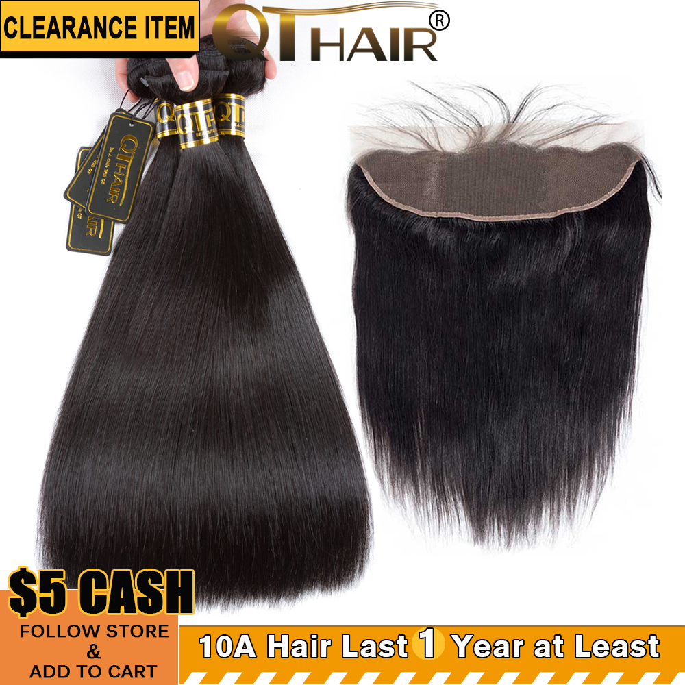 Straight Hair Bundles With Frontal Peruvian Bundles With Lace Frontal QT Hair 3 Bundles With Frontal