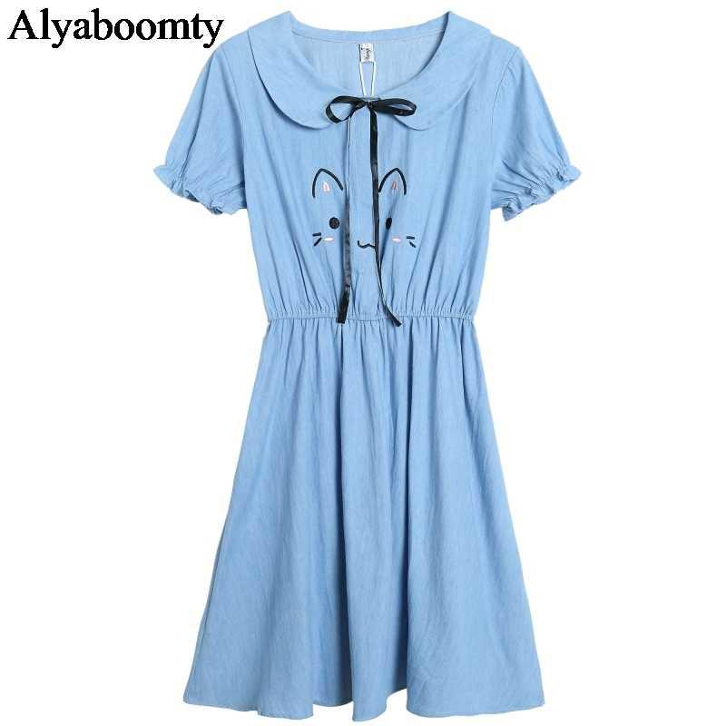 Японский Мори девушка летнее женское милое джинсовое платье вышивка лента для кошки эластичная талия платье с коротким рукавом Элегантные Kawaii платья