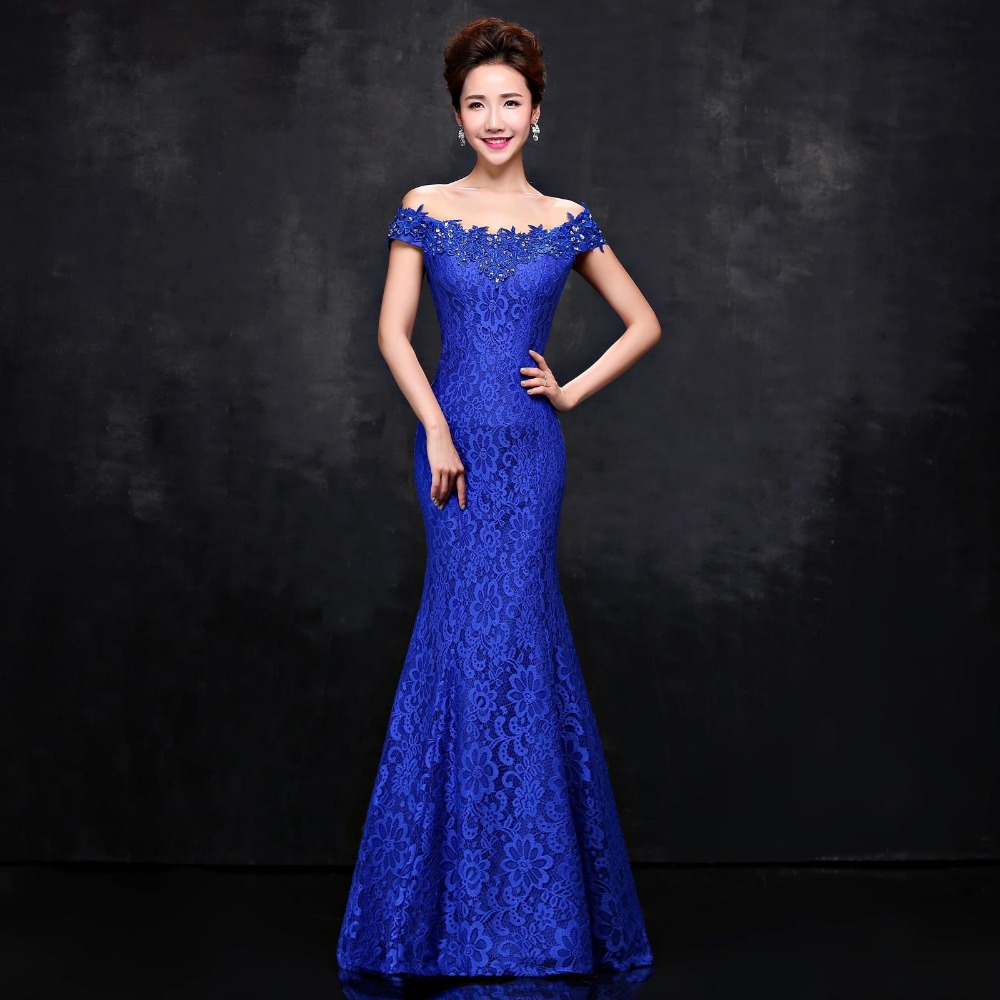 Popular Royal Blue Elegant Long Lace Evening Dresses-Buy Cheap ...