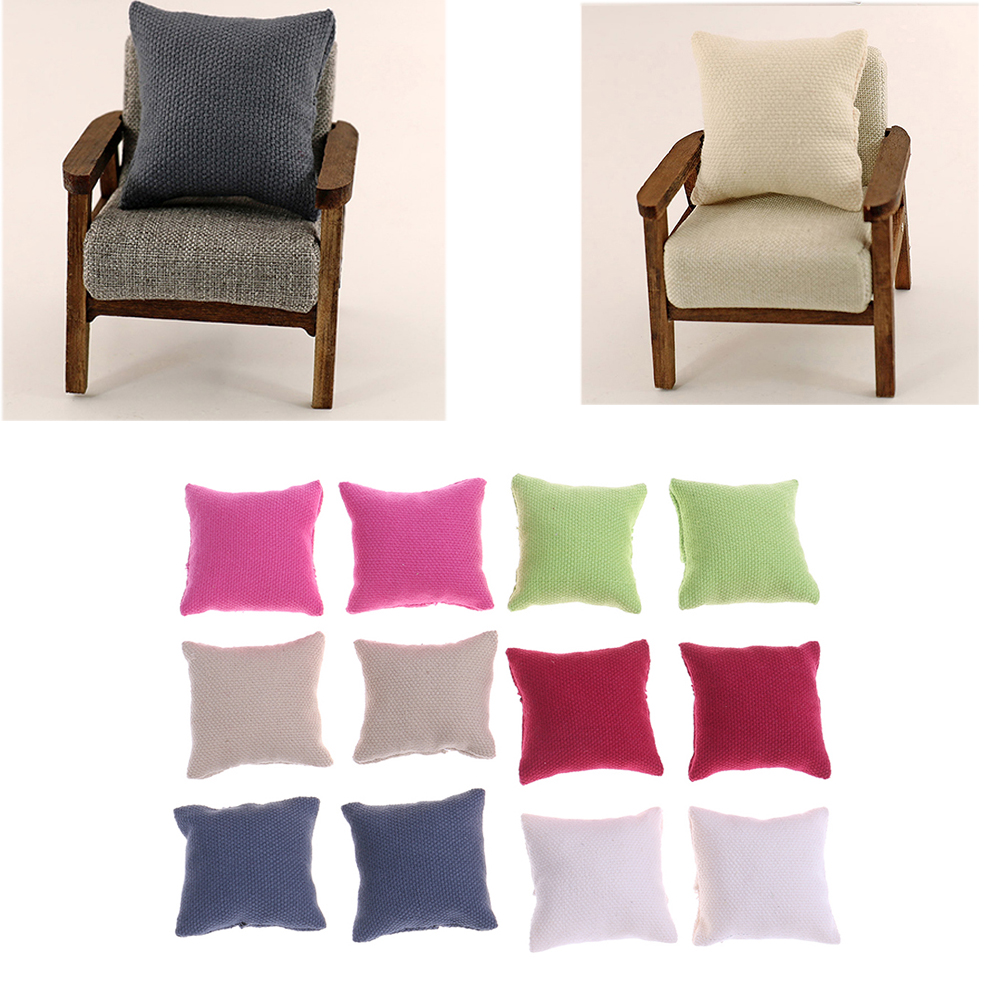 2pcs Fashion Pillow Cushions For Sofa Couch Bed For 1/12 Dollhouse Miniature Furniture Toys Without Sofa Chair To Enjoy High Reputation In The International Market Furniture Toys Pretend Play