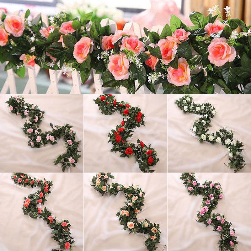 Искусственные шелковые цветы 2,5 м/фута, гирлянда из листьев розы, виноград, плющ, свадебный цветок, сад, Хэллоуин, рождественские цветы, украш...