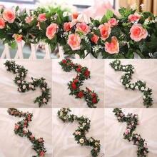 2.5m/8.2ft Artificial Flower Silk flowers Rose Leaf Garland Vine Ivy Wedding Flower Garden Halloween Christmas flowers Deoration