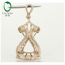 11.5×11.5×12.5mm Trillion Cut Solid 14k Rose Gold Natural Diamond Semi Mount Pendant