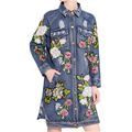 2016 Autumn Winter Flowers Sequins Patch Wintage Long Coats Denim Trench Coat  Women New Streetwear Single-breasted High Quality