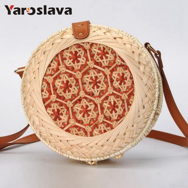 New Bamboo Handmade Rattan Woven Round Handbag Vintage Straw Rope Knitted  Messenger Bag Lady Fashion Summer