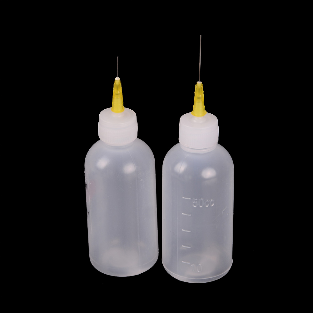 50ml  Solder Flux Bottle With Fine Tipped Needles Blunt Dispensing Needles Syringe Needle Tips For Ink Glue Liquid Gray