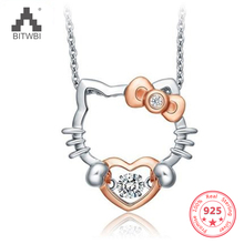 100% 925 Sterling Sølv Sølv Smart Halskjede Anheng Hello Kitty Hello Kitty Meng Meng da