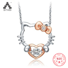 100% 925 Sterling Sølv Sølv Smart Halskæde vedhæng Hello Kitty Hello Kitty Meng Meng da
