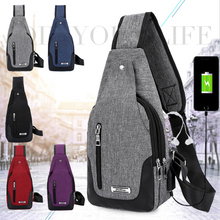 Men Women Water-proof Chest shoulder bag Urba Style Anti Theft Nylon Crossbody Unisex Pack with USB charging port Black Red