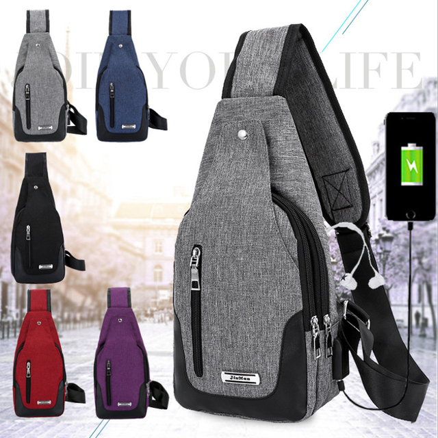 0ff5264f25 Men Women Water-proof Chest shoulder bag Urba Style Anti Theft Nylon  Crossbody bag Unisex Pack with USB charging port Black Red