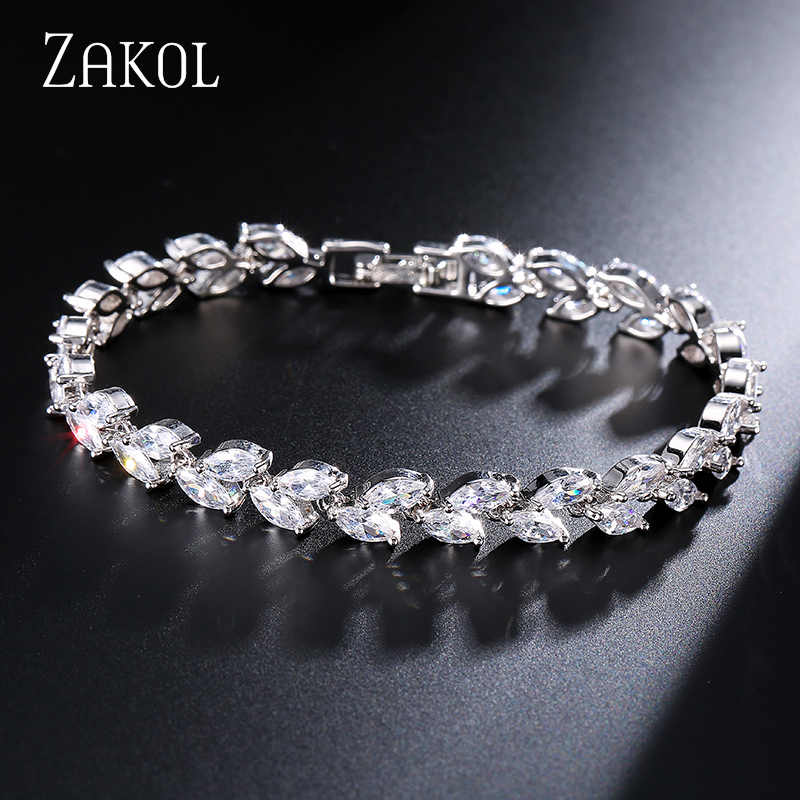 ZAKOL Trendy Bride Jewelry White Color Leaf Charm Cubic Zirconia Bracelet & Bangles Clear CZ Crystal Bangles For Women FSBP061